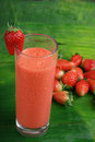 Refreshing strawberry smoothie milk shake Stock Photos