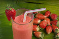 Refreshing strawberry smoothie milk shake Royalty Free Stock Photography