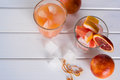 Refreshing summer cocktails with citrus fruits Top view. Royalty Free Stock Photo
