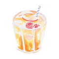 Refreshment drink illustration. Hand drawn watercolor on white background.