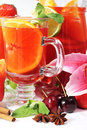Refreshment in glass with fruits Royalty Free Stock Photo