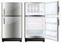 Refridgerator with closed and opened door illustration Stock Images