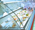 Refrigerated case row of cases closeup Royalty Free Stock Image