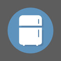 Refrigerator, fridge flat icon. Round colorful button, circular vector sign with shadow effect. Royalty Free Stock Photo