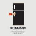 Refrigerator hand open vector illustration Royalty Free Stock Photos