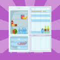 Refrigerator organic food kitchenware household utensil fridge appliance freezer vector illustration. Royalty Free Stock Photo