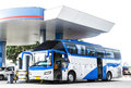 Refueling station bus in gas Royalty Free Stock Image