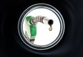Refuelling last drop of fuel view from inside of gas tank of a car Royalty Free Stock Images
