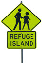 Refuge island warning traffic sign Stock Photos