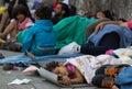 Royalty Free Stock Images Refugee child sleeping at Keleti train station in Hungary
