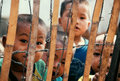 Refugee children behind barbed wire, bamboo fence