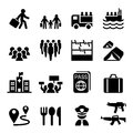 Refugee, immigrants, immigration icons set