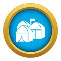 Refugee tent city icon blue vector isolated