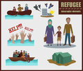 Refugee vector infographic elements