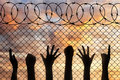 Refugees hands silhouette near the fence of barbed wire.