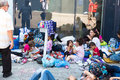 Refugees and migrants stranded at the keleti trainstation in bud budapest hungary september camp front of eastern train station Stock Photos