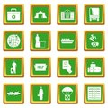 Refugees problem icons set green