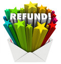 Refund Word Envelope Money Tax Return Mail Stock Photos