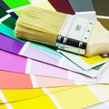 Refurbish paint brush with color scale Stock Photo