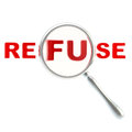 Refuse symbol under the magnifier Stock Photography