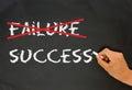Refuse to accept failure on blackboard Stock Photos