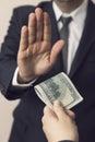 Refusing a bribe money Royalty Free Stock Photo
