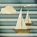 Regata new cartoon style image with boats cloud and seagulls can use like nautical design Royalty Free Stock Photography