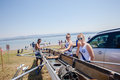 Regatta rowing girls team event at albert falls dam preparation for Royalty Free Stock Image