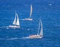Regatta sailboat group race on sea Royalty Free Stock Image