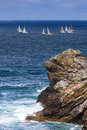 Regatta sailboat group race on sea Royalty Free Stock Photo