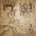 Regency Era - Jane Austen Inspired - Digital Paper Background - Roses - Pride & Prejudice Royalty Free Stock Photo