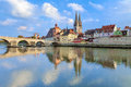 Regensburg Cathedral and Stone Bridge in Regensburg, Germany Royalty Free Stock Photo