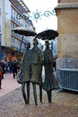 Regenschirmdamen the sculpture women with umbrella or aachener wetter weather in aachen was built by the artist heinz tobolla and Royalty Free Stock Photography