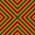 Reggae colors crochet knitted style background, top view. Collage with mirror reflection with rhombus. Seamless kaleidoscope monta
