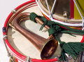 Regimental drum a british army bugle and Stock Image