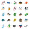 Regional center icons set, isometric style Royalty Free Stock Photo