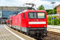 Regional express train at Lubeck Main Station Royalty Free Stock Photo
