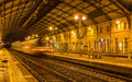 Regional train leaving avignon station france Royalty Free Stock Photography
