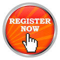 Register now a button and a hand shaped cursor Stock Images