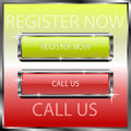 Register now and call us buttons on a color reflective surface