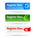 Register now modern minimal button collection Royalty Free Stock Photo