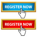 Register now set on a white background Royalty Free Stock Image
