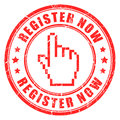 Register now  stamp Royalty Free Stock Image