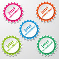Register now star paper labels colorfull stickers with text eps file Royalty Free Stock Photo