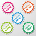 Register now star paper labels colorfull stickers with text eps file Stock Photo
