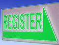 Register sign button shows website registration or members Stock Photo