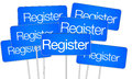 Register for social media buttons big blue button signs Royalty Free Stock Images