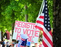 Register to vote sign. Stock Photo