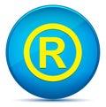 Registered symbol icon modern flat cyan blue round button
