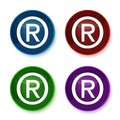 Registered symbol icon shiny round buttons set illustration